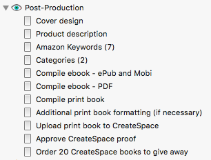 Scrivener book launch - post-production checklist