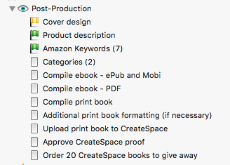 Scrivener book launch - post-production with status flags