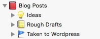 Blog Post binder structure in Scrivener